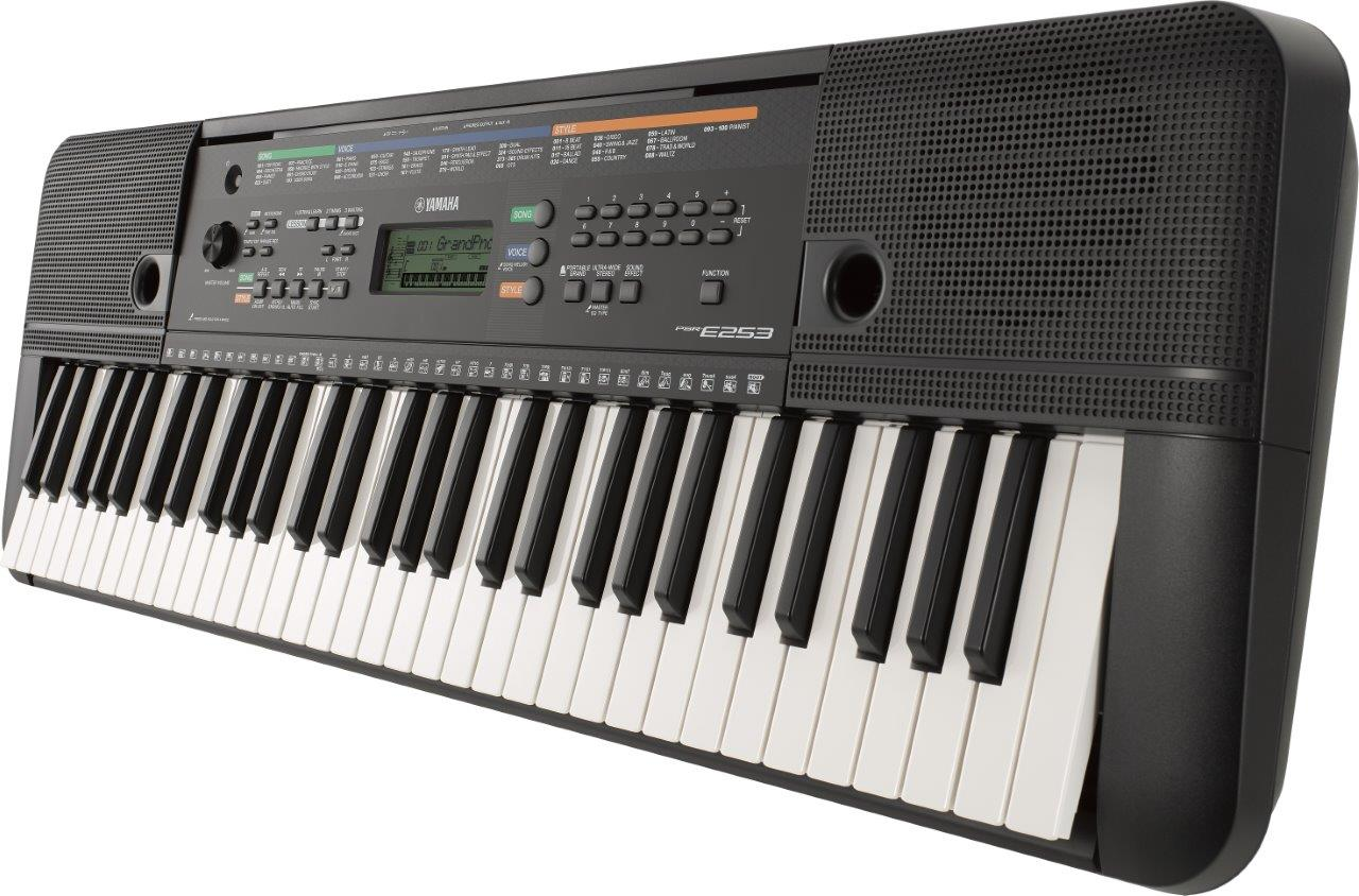 The Yamaha PSRE-253 is suitable for amateurs and beginners in the keyboard piano scene. That is not to say, however, that more advanced players can simply dismiss this particular model. It has a duo mode not found in similar models which basically 'splits' its 61 keys into two making it useful when teaching young kids since they can easily copy which keys you are pressing on the keyboard. This feature will also allow you to develop your left and right hand fingering techniques much faster! At slightly a bit over 10 pounds, this keyboard offers 385 instrument voices, 100 accompaniment styles and 102 preset songs which you can either listen to or play along using the Yamaha Education Suite.  In addition, there is even a Chord Study mode which will teach you how to play a variety of chords on its own or with the built-in song bank. The ports at the back include an aux line input so you can connect the keyboard to your MP3 player (or a computer or mixer or even another keyboard), use the built-in speaker to play your music, and play along to it on the keyboard! For the full review, click here ________ or check the price on Amazon.